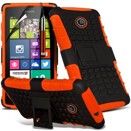 ( Orange ) Nokia Lumia 630 Hülle Abdeckung Cover Case Premium Fitted schutzhülle Tasche PU-Leder-Schlag mit 3 Kredit- / Bank-Karten-Slot-Kasten-Haut-Abdeckung mit LCD-Display Schutzfolie, Poliertuch u Shock Proof + Stylus ( Orange )