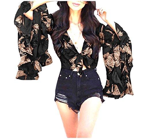 CuteRose Women's Crop Trumpet Sleeve Floral Falbala Blouse Tunic Tops Black L (Front Sleeve Cardigan Ruffle)