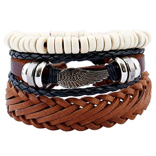 Jiayiqi Hommes Tissé Rétro Cuir Bracelet En Cuir Bracelet Multicouche Réglable NO.2