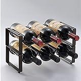 QIANGZI Weinflaschenständer Für 12 Flaschen - Tischplatte Weinregal In Schwarz (Eisen) Arbeitsplatte Kabinett Freistehend (Farbe : 3 Bottle, größe : 2 Tier)