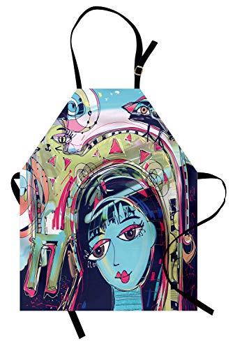 ABAKUHAUS Arte Abstracto Delantal de Cocina, Avatar del Gato Mujer, Apto para Lavadora Colores No Destiñen Resistentes al Agua