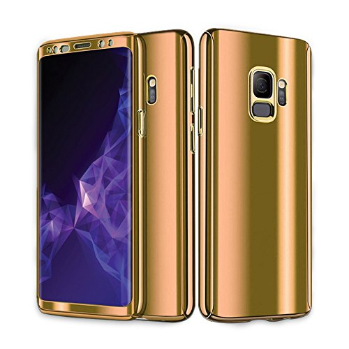 Kompatibel mit Samsung Galaxy S9 Hülle Mirror Case Spiegel Handyhülle PU Leder Flip Case Cover Handy Schutz Echtleder Tasche Schutzhülle für Samsung Galaxy S9 Plus (Galaxy S9, Gold) Gold Handy Cover