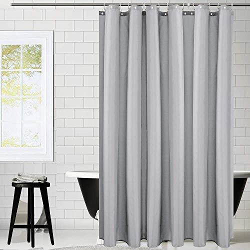 Duschvorhang Textil, KIPIDA Anti-Schimmel, Wasserdichter, Waschbar Anti-Bakteriell Stoff Polyester Badewanne Vorhang mit 12 Duschvorhängeringen, 180x180cm, Grau