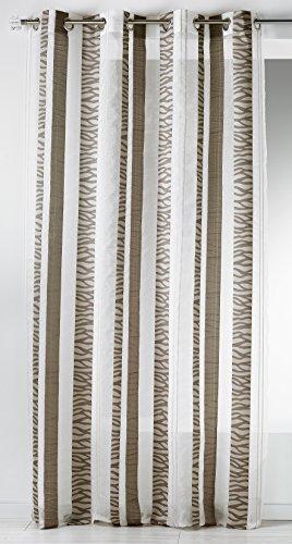 Casa casa hm6921399 sheer bande verticali ricamati fantasy etamine taupe poliestere 140 x 260 cm