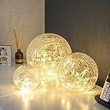 Conjunto de 3 orbes de cristal craquelado con luces LED a bateríás de Lights4fun
