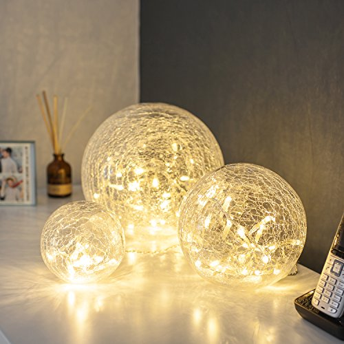 Led Weihnachtsbeleuchtung Qvc.Lights4fun Set Of 3 Battery Operated Crackled Glass Warm White Led Fairy Light Balls