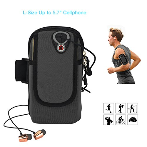 51gfoQL6SfL BEST BUY UK #1Running Armband Phone Holder, ieGeek Sweat Free Sports Armband Bag for iPhone 7/6S/6 Plus, Samsung Galaxy S7/S6 Edge, LG, HTC, Huawei Cellphone Up to 5.7, Running Workout Cycling Hiking Jogging Multifunctional Pockets with Free Keychain   L Black price Reviews uk