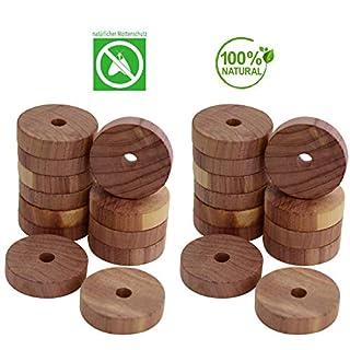 all-around24 24 x Mottenringe Zedernholz Mottenfalle Mottenschutz gegen Kleidermotten für Kleiderschrank und Wohnung