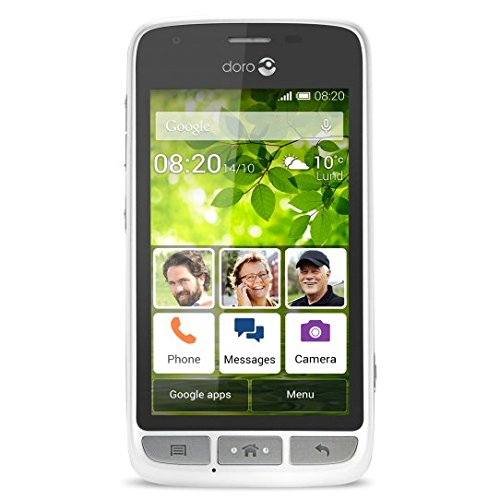 "Doro Liberto 820 Mini - 3G Smartphone (4"" Touchscreen, 5 MP Kamera, GPS, Bluetooth 4.0, WiFi, Android 4.4) weiß/silber"