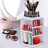 SummerRio Aufbewahrungsbox Kosmetik, 360 Grad Drehbar Make up Organisator schminkbox Schmuckbox 13.5 x 31.5cm (Weiß)