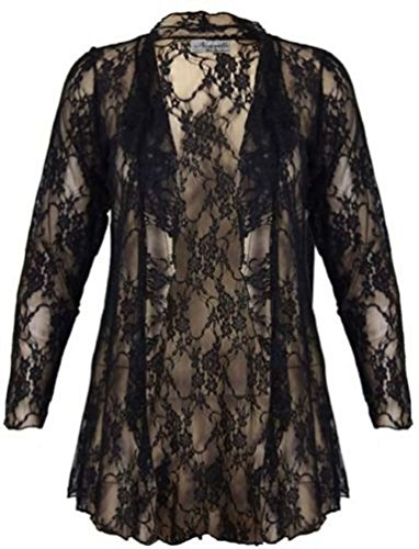 New Womens Plus Size Floral Lace Full Sleeve Waterfall Open Cardigan UK 14-28 (UK 22/24, BLACK)