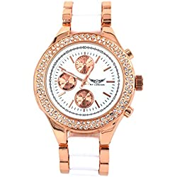 Branded Fashion Ladies Watch / Womens Watch at Discounted Sale Price - Rose Gold & White Watch with Crystals