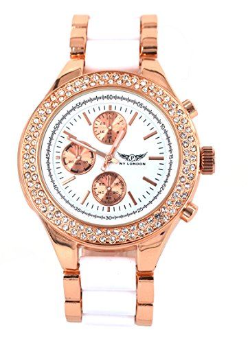 NY London designer Damenuhr,Exclusive Damen Strass Uhr in Chronograph Optik,Weiß, Rose Gold
