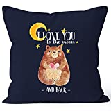 MoonWorks Kissenbezug Bär mit Herz Watercolor I Love You to The Moon and Back Geschenk-Kissen Liebe 40x40 Baumwolle Navy 40cm x 40cm