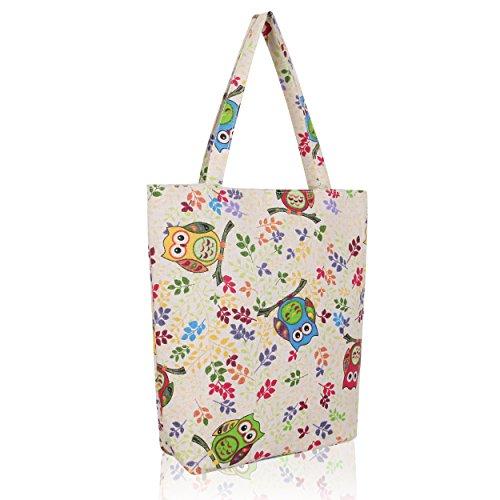 cheeroyal Cartoon borsa pieghevole borsa a tracolla borsa della spesa riutilizzabile 5897 Owl