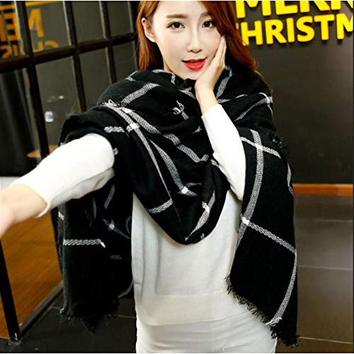 ZLULU Schal Damen 140 * 140 cm Fashion Square Schal Warme Winter Schal Frauen Black & White Plaid Blanket Schal Wrap Schals - White Plaid Schal