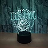 3D Baseball Lampe USB Power 7 Farben Amazing Optical Illusion 3D LED Lampe Formen Kinder Schlafzimmer Nacht Licht