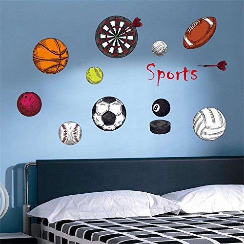 decalmile Jungen Sport Wandtattoo Basketball Rugby Darts Fußball Wandsticker Herausnehmbar Wandaufkleber Wandbilder für Babyzimmer Kinderzimmer Jungen (Sport Rugby)