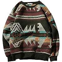 Zyh Suéter de los Hombres, 2018 Otoño Invierno Cuello Redondo Suéter de Gran tamaño Camisa de Fondo cálido Moda Casual Jumper Suelto (Color : 1, tamaño : SG)
