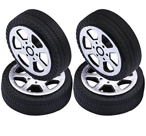 Yeeco 4er Pack Kunststoff Spielzeug Auto Reifen Rad, Mini Φ1.9 * 30mm Intelligent RC Auto Roboter Reifen Modell Gang Teile (Spielzeug Reifen)
