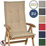 Beautissu Hochlehner Auflage Loft HL 120x50x6cm Sitzkissen Rückenkissen mit Schaumkern-Füllung Natur