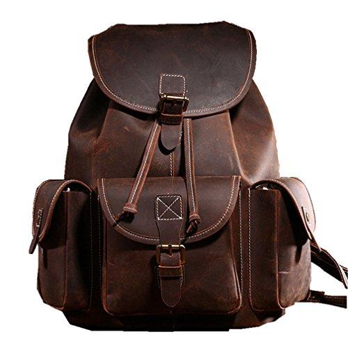 Retro Rucksack Leder Vintage Rucksack Wanderrucksack Hiking Backpack Damen Herren Schultertasche Leder Rucksack für Camping Reise und iPhone, iPad und Samsung Tablet Laptop