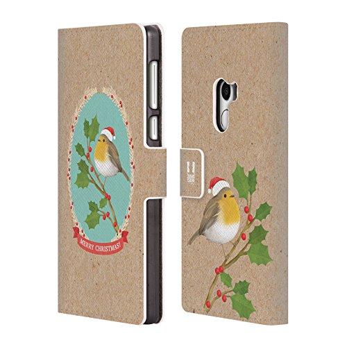 Head Case Designs Rotkelchen Weihnachtszeit Brieftasche Handyhülle aus Leder für Xiaomi Mi Mix