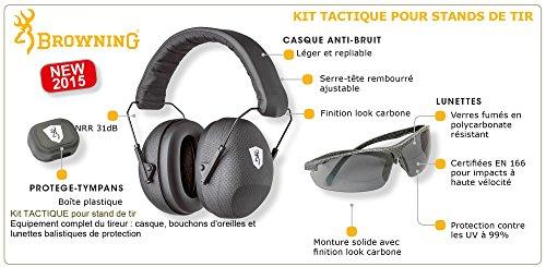 Browning 126374 Kit Tactique Lunettes-Casque-Bouchons Mixte Adulte, Noir