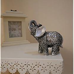 Garden Mile® Par de Shabby Chic plateado y negro Buda indio elefantes con brillantes espejo Rococco mosaico detalles. Elegante Plata Decoración para el hogar adorno Animal Esculturas.