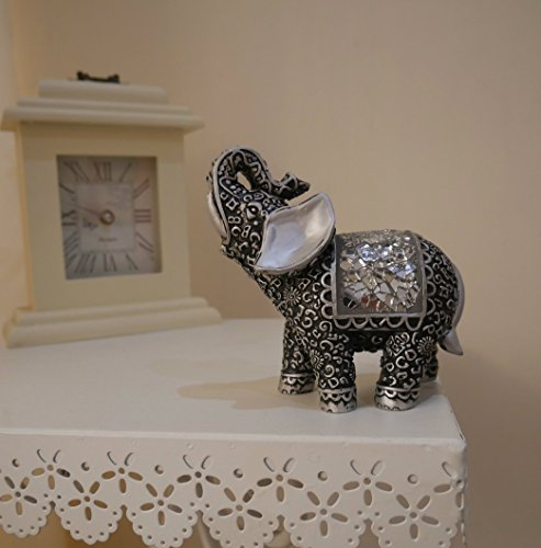 Homezone® Shabby Chic Silver Mosaic Buddha Indian Elephant Home Decor Ornament Rococco Style Mosaic Detailing. Elegant Silver Ornament Animal Sculptures.