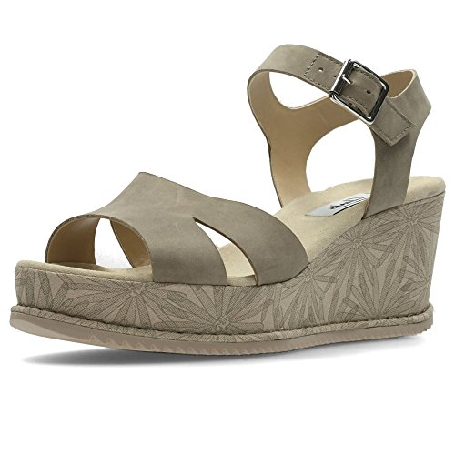 Clarks Akilah Eden Womens Breiten Keil Heel Sandalen 6 D (m) UK / 39,5 EU Salbei Nubuk - Nubuk Leder Keil