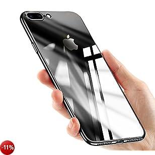 Cover iPhone 8, Custodia iPhone 7, Ubegood Trasparente iPhone 8 Silicone Morbida Ultra Sottile Protezione Fotocamera Anti-Graffio TPU Bumper Case per iPhone 8 / iPhone 7 Case Cover - Brillante Nero