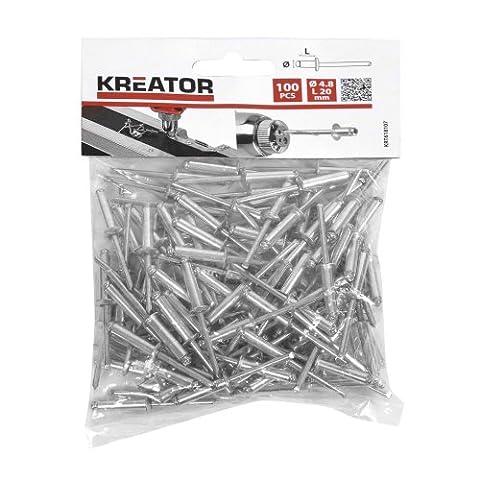 KREATOR KRT618107 100 x RIVETS Ø 4,8 x 20mm Matériel Aluminium (cap) + Iron (shaft)