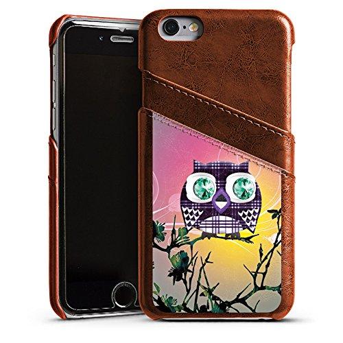 Apple iPhone 4 Housse Étui Silicone Coque Protection Hibou Hibou Hibous Étui en cuir marron