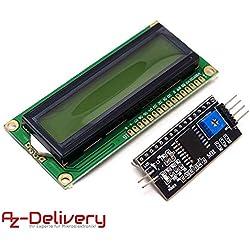 AZDelivery ⭐⭐⭐⭐⭐ HD44780 1602 LCD module afficheur vert 2 x 16 caractères pour Arduino + I2C, y compris un eBook gratuit!