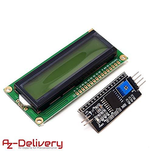 AZDelivery ⭐⭐⭐⭐⭐ HD44780 1602 LCD Modul Display Bundle mit I2C Schnittstelle 2x16 Zeichen mit gratis eBook! (mit grünem Hintergrund) Lcd-display-modul