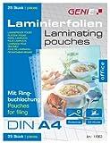 Genie 11963 Laminierfolie (Abheftrand, Lochung A4-25er Laminierfolien DIN A4) farblos