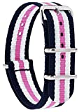 MOMENTO Damen Herren NATO Nylon Uhren-Armband Ersatz-Armband Uhren-Band mit Edelstahl-Schliesse in Silber und Nylon Uhr-Armband in Blau Weiss Rosa 18mm