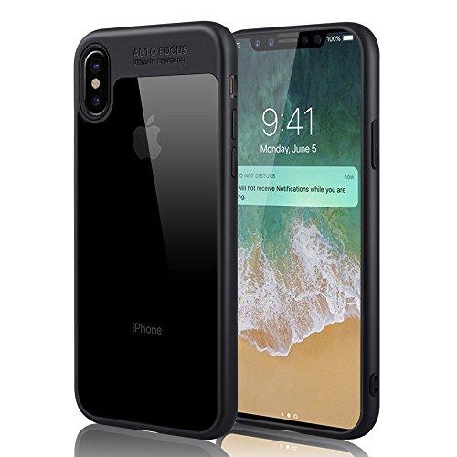 Iphone X Case, Aursen Schwarz Hülle/Schutzhülle mit Transparent Rückseite aus Silikon + Acryl,Stoßfest Transparent Kratzfest Ultra Dünn Schlanke Rutschfeste Cover für Apple iphone X Schwarz