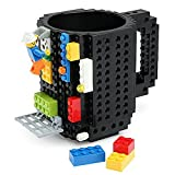 BonZeal Creative Build-On Brick Blocks Puzzle Plastic Coffee Tea Creative Funny Cup Mugs Drinkware (Black)