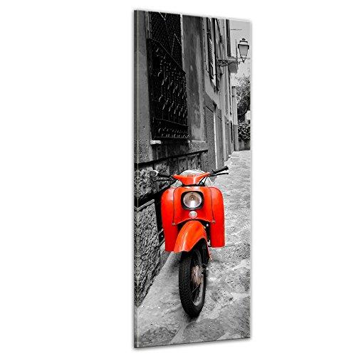 Keilrahmenbild - Retro Roller - Bild auf Leinwand 40 x 120 cm - Leinwandbilder - Bilder als Leinwanddruck - Motorisiert - schwarz weiß - roter Motorroller
