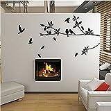 Adesivo da parete Albero e camera degli uccelli Citazione Sticker decorativo Decalcomania da muro