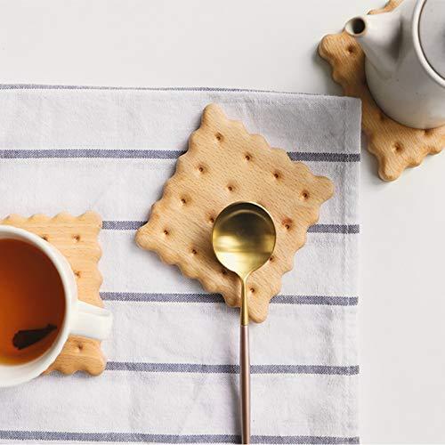 Ein Plus Original Craft Home Tischplatten - lustige Keks-Holzuntersetzer Single für Getränke quadratisch Graham Cracker Glas-cracker
