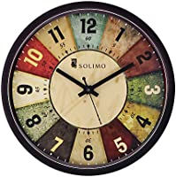 Amazon Brand - Solimo 12-inch Wall Clock - Classic Roulette (Silent Movement, Black Frame)