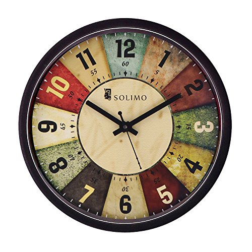Amazon Brand - Solimo 12-inch Wall Clock - Classic Roulette (Silent Movement,...