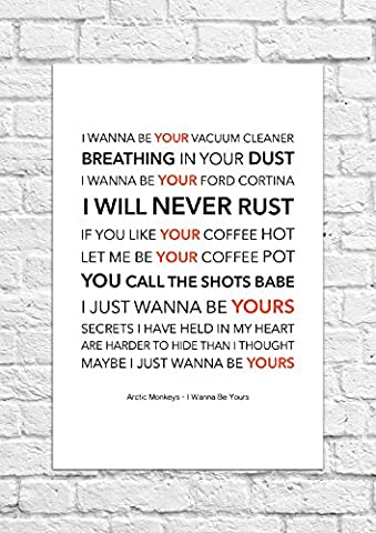 Arctic Monkeys – I Wanna Be Yours – Lyrical chanson Art Poster – Impression Sans Cadre