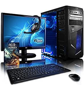 "VIBOX Precision Desktop Gaming PC Package 6 - with WarThunder Game Bundle, 22"" Monitor, Gamer Headset, Keyboard & Mouse (4.0GHz AMD FX Quad Core Processor, Nvidia Geforce GT 730 Graphics Card, 1TB Hard Drive, 8GB RAM, Blue Gamer Case, No Operating System)"