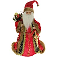 Deluxe Red & Gold Santa Decoration Christmas Tree Top Topper - 30cm