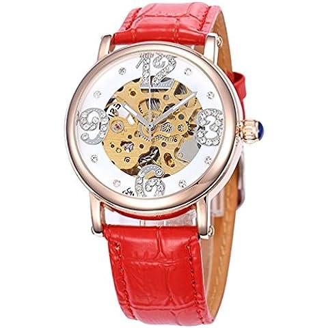 GuTe-scheletro meccanico automatico da orologio da polso, con diamanti, in oro rosa, con custodia, colore: Rosso - Womens Diamante Orologio Automatico
