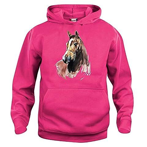 Kinder Hoodie Kapuzensweatshirt Pferd pink 104/110, 116/122, 128/134, 140/146 Größe 128/134